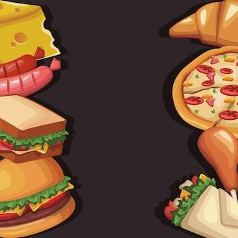 Cadre avec délicieux fast food