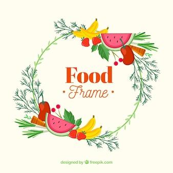 Cadre avec de délicieux fruits