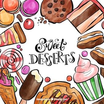 Cadre de desserts sucrés à l'aquarelle