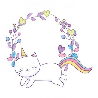 Cadre de dessin animé de chat licorne