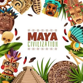 Cadre de dessin animé de civilisation maya