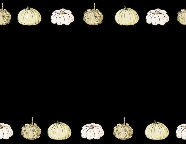 Cadre de dessin animé mignon citrouilles colorées sur dark