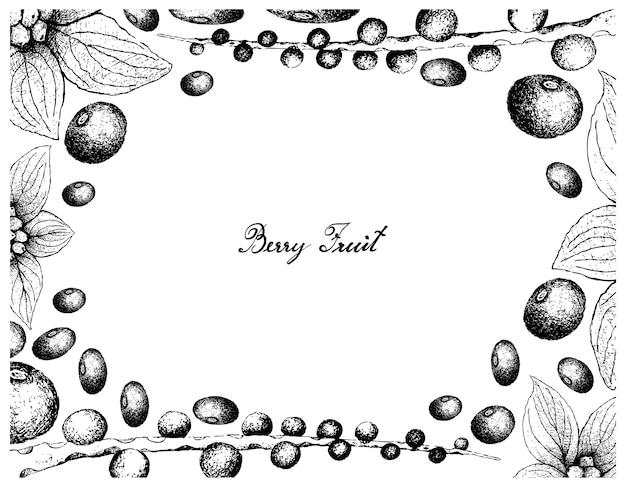 Cadre dessiné à la main de baies d'açai et de framboises