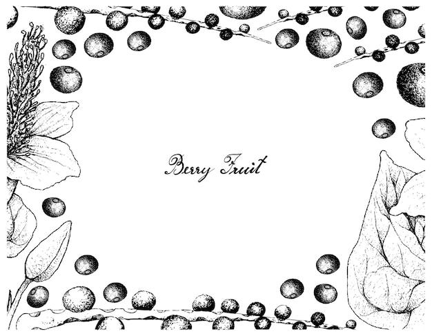 Cadre dessiné à la main de baies d'açai et queue de lézard