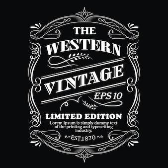 Cadre dessiné à la main étiquette occidentale tableau noir typographie antique frontière illustration vintage