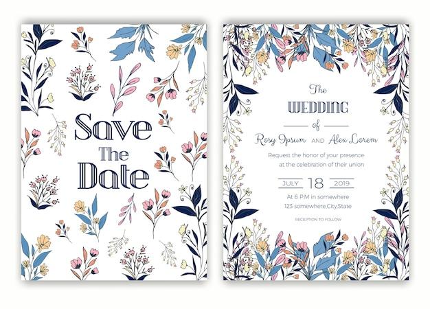 Cadre dessiné main floral pour une invitation de mariage