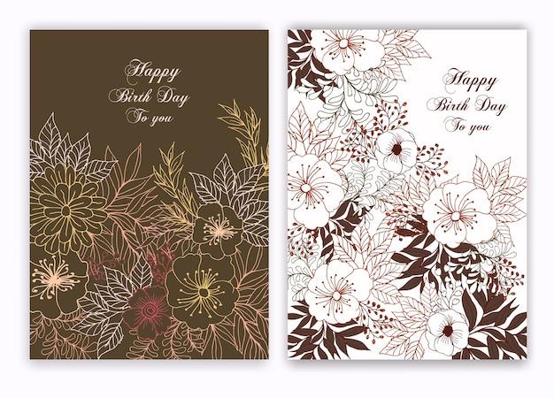 Cadre dessiné main floral pour une invitation de naissance