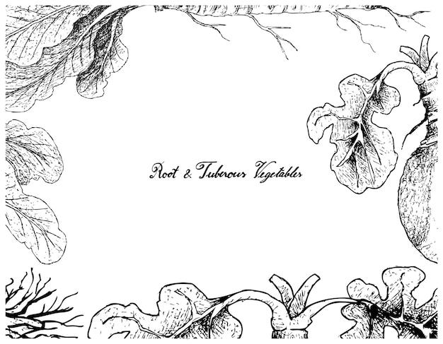 Cadre dessiné à la main de raifort et de suédois