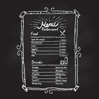 Cadre dessiné main restaurant menu étiquette tableau noir vintage