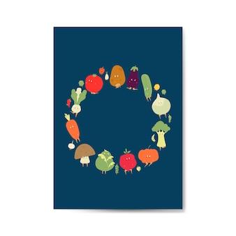 Cadre de dessins animés de légumes sur le vecteur de carte de voeux