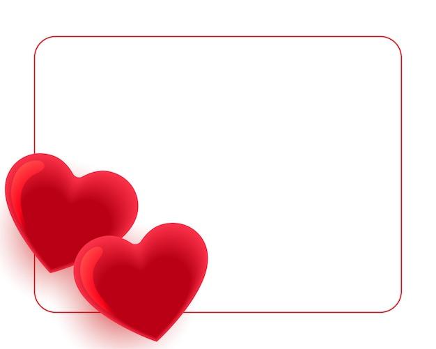 Cadre de deux coeurs rouges avec espace de texte
