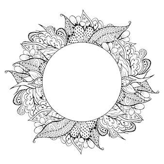 Cadre de doodle dessiné à la main noir et blanc
