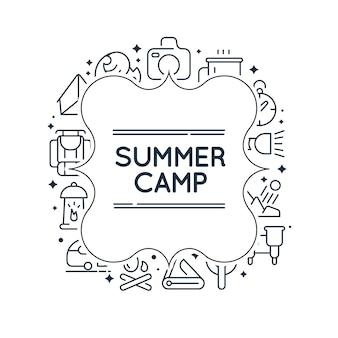Cadre de doodle élégant monochrome avec des images de barbecue, thé, équipement et de nombreux autres objets sur le blanc