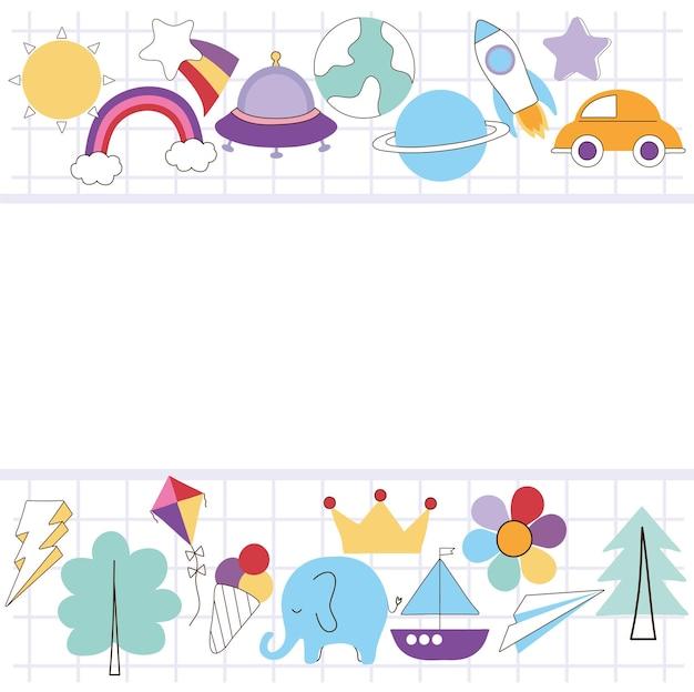 Cadre doodle avec grilles et éléments