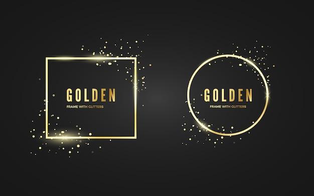 Cadre doré abstrait avec effet scintillant et sparcle pour bannière et affiche. cadres de forme carrée et cercle or. isolé sur fond noir