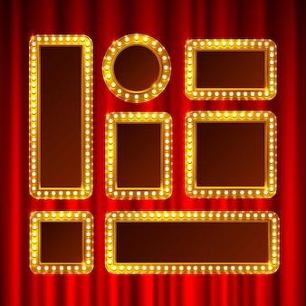 Cadre doré avec ampoules sur le fond de la scène. illustration vectorielle