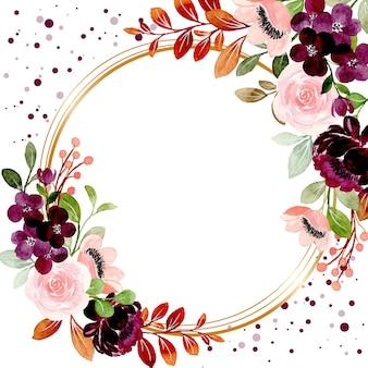 Cadre doré aquarelle floral bourgogne