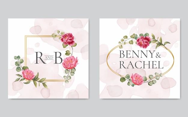 Cadre doré aquarelle invitation de mariage floral