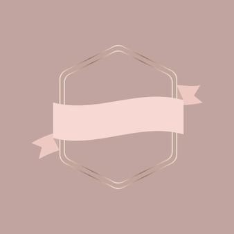 Cadre doré avec bannière de ruban d'or rose