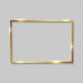 Cadre doré avec des bordures brillantes