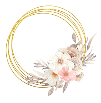 Cadre doré botanique à l'aquarelle avec des fleurs d'automne, idéal pour les invitations de mariage et les impressions