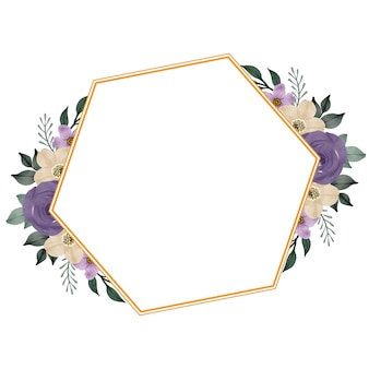 Cadre doré avec bouquet de roses violettes pour invitation de mariage
