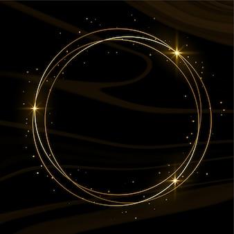 Cadre doré brillant avec étincelles et fumée