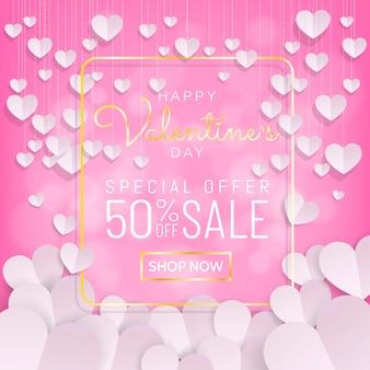 Cadre doré calligraphie fond saint valentin vente, papier découpé suspendus coeur
