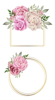 Cadre doré avec composition de fleurs aquarelle