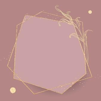 Cadre doré avec contour de feuilles