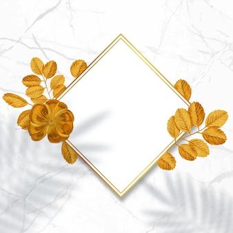 Cadre doré décoratif. couronne florale avec des feuilles d'or