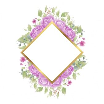 Cadre doré avec des décorations roses pour les invitations de mariage