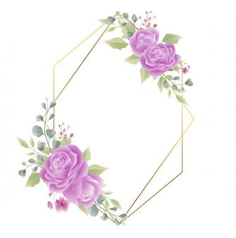 Cadre doré avec décorations roses