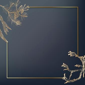 Cadre doré décoré de bois de fond social