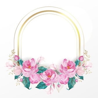 Cadre doré décoré de fleurs roses dans un style aquarelle pour carte d'invitation de mariage