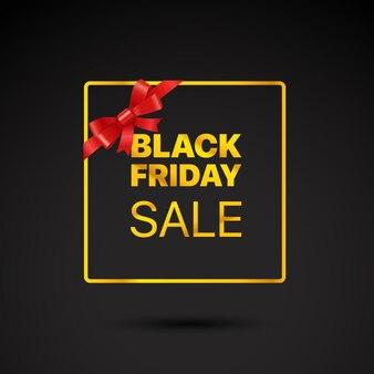Cadre doré du vendredi noir étiquette de vecteur de vente vendredi noir avec ruban rouge