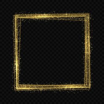 Cadre doré effet de traçage de la lumière