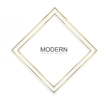 Cadre doré avec effets de lumières isolés. cadre rectangle brillant