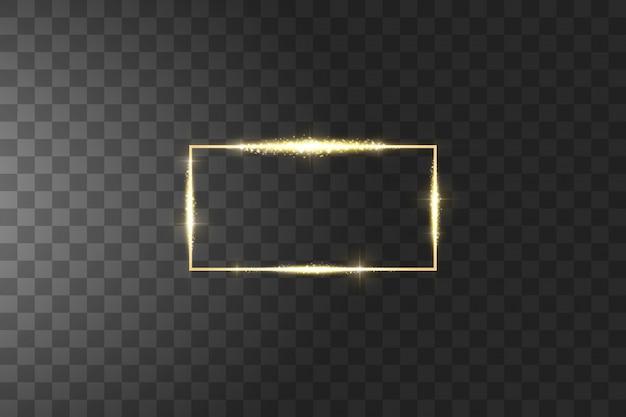 Cadre doré avec des effets de lumières. luxe brillant