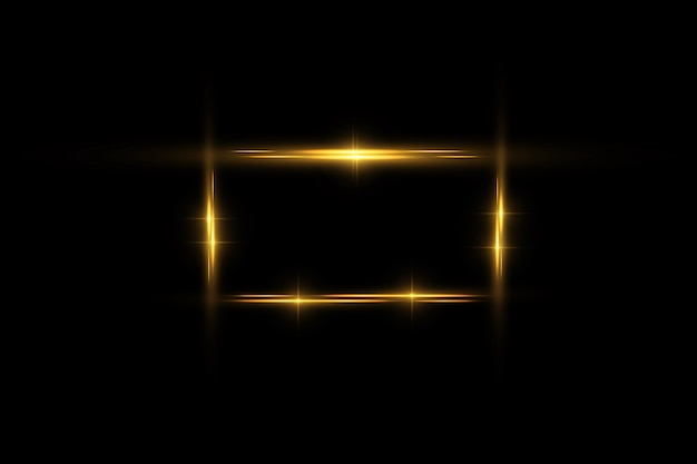 Cadre doré avec effets de lumières