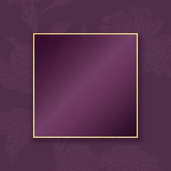 Cadre doré élégant sur fond de motif floral