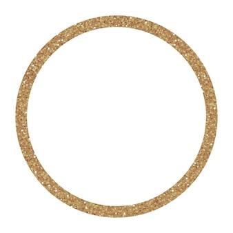 Cadre doré étincelant, cercle de paillettes. idéal pour les invitations de mariage, les cartes, les bannières.