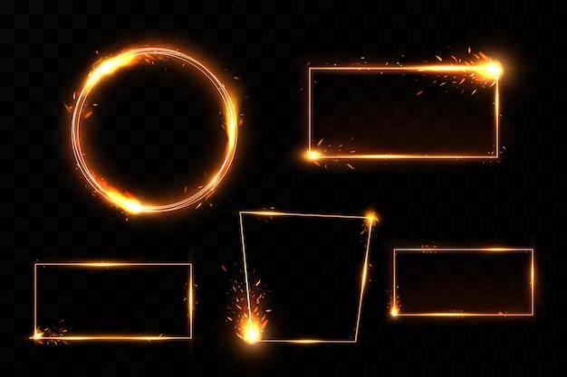 Cadre doré avec des étincelles de feu. cadre doré avec effets de lumière.