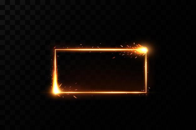 Cadre doré avec des étincelles de feu sur fond transparent