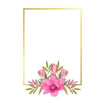 Cadre doré avec des fleurs de cerisier aquarelles