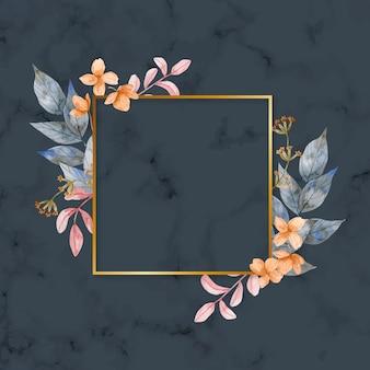 Cadre doré avec des fleurs d'hiver