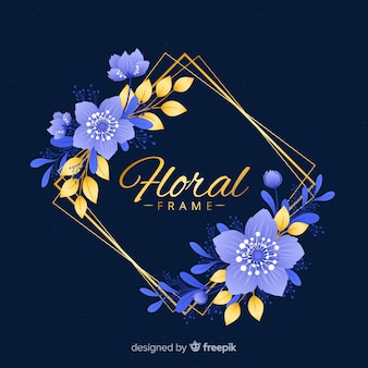 Cadre doré avec des fleurs