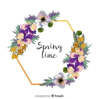 Cadre doré floral printemps aquarelle