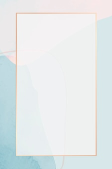 Cadre doré sur fond aquarelle bleu neutre