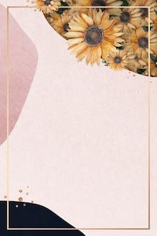 Cadre doré sur fond de collage rose avec des tournesols
